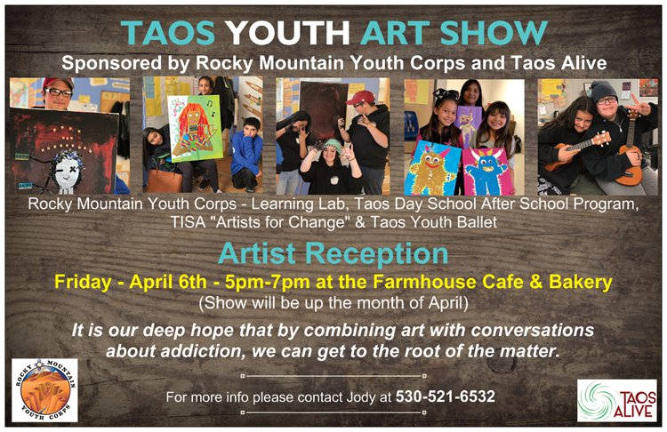 Taos Youth Art Show - Reception on Friday, April 6th